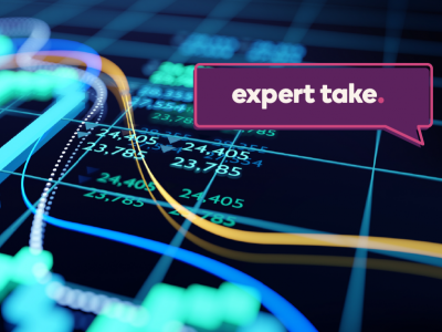 Expert Take banner over a close-up image of a stock market graph