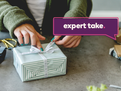 Expert Take banner over an image of someone wrapping a gift