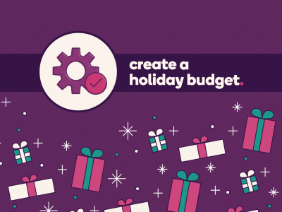 Gears icon with text Create a holiday budget.