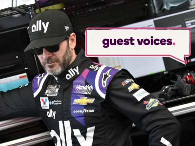 Guest Voices banner over image of Jimmie Johnson