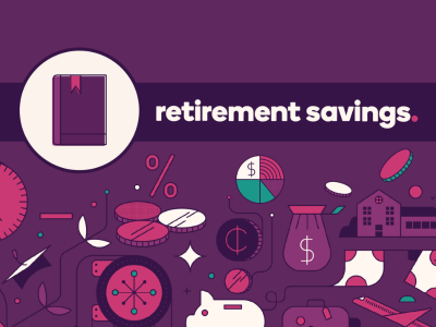 Guidebook icon with text, Retirement Savings