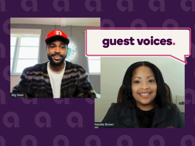 "A graphic with the words ""guest voices"", featuring artist Big Sean and Ally's Director of Corporate Citizenship, Natalie Brown"