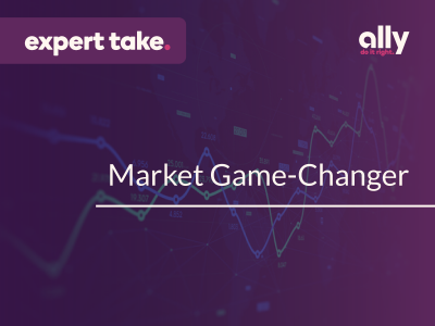 "Title reads: ""Market Game-Changer"" against a plum background with green and blue stock charts. An ""Expert Take"" tag is in the top left corner."