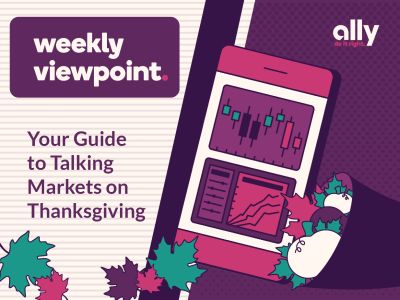 Image shows stock charts on a phone surrounded by a cornucopia and fall leaves symbolizing the Thanksgiving holiday. Title Reads: Weekly viewpoint: Your Guide To Talking Markets on Thanksgiving.