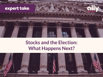 "Image shows a picture of the New York Stock Exchange with the article title ""Stocks and the Election: What Happens Next?"" in the center and an ""Expert Take"" tag at the top."
