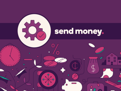Gears icon with text, Send money