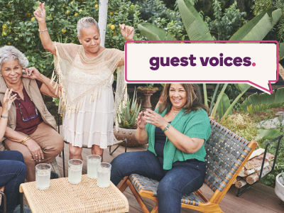 Guest Voices banner over image of women celebrating retirement