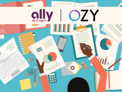 OZY and Ally logos over image of person working at a desk scattered with charts and papers