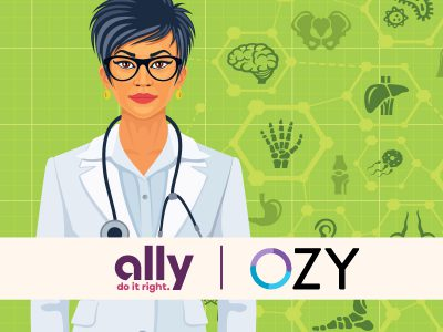 OZY and Ally logos over image of doctor with a stethoscope in front of a collage of organs and bone drawings