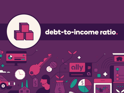 An icon of building blocks, with text, debt-to-income ratio