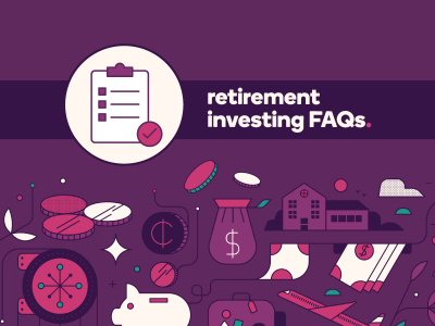 "Image reads ""Retirement investing FAQs"""