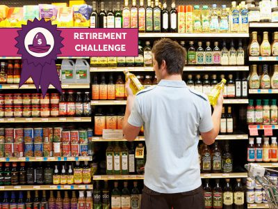 Image shows and retirement challenge tag over an image of a man comparing two products at a grocery store