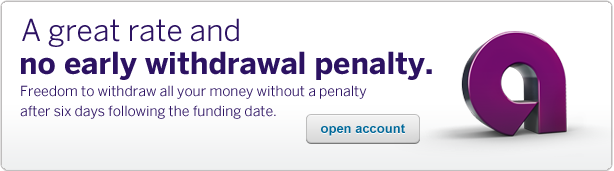 A great rate and no early withdrawal penalty. Withdraw your entire balance, including all interest earned, without a penalty. Click to open account.
