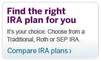 Find the right IRA plan for you.  It's your choice: Choose from a Traditional, Roth or SEP IRA. Compare IRA plans.