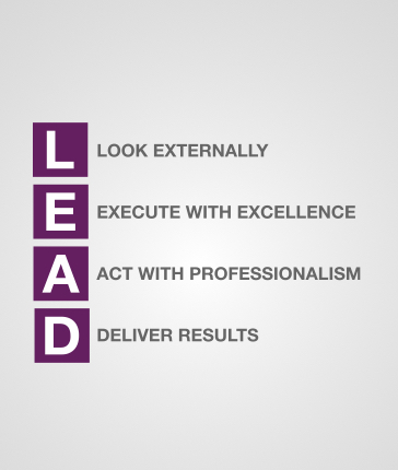 Image of our LEAD core values, Look Externally, Execute with Excellence, Act With Professionalism, Deliver Results
