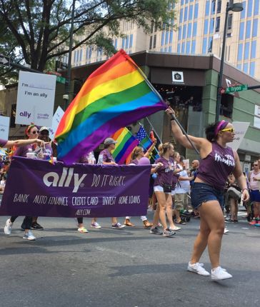 Ally employees marching in the Charlotte Pride parade