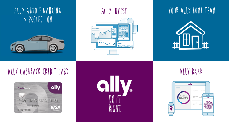 Ally Auto Financing & Protection, Ally Cashback Credit Card, Ally Invest, Ally-Do It Right, Your Ally Home Team, Ally Bank