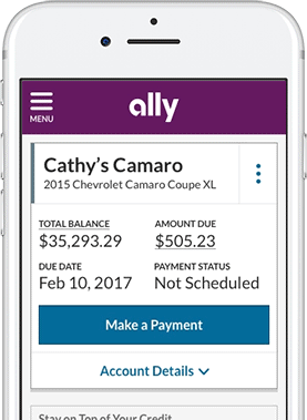 manage your auto account make a vehicle payment ally